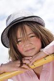 Closeup of girl wearing hat. — Stock Photo