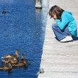 Girl and ducks look at each other. — Stock Photo #6690553