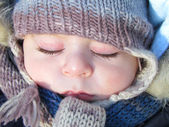 Cute baby is sleeping — Stockfoto