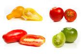 Collage of four tomato varities — Stock Photo
