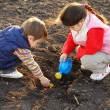 Stock Photo: Little children on field seeding plant
