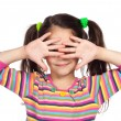 Little girl with covered his eyes — Stock Photo