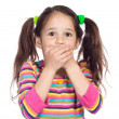 Stock Photo: Surprised little girl with covered his mouth