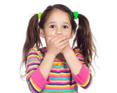 Surprised little girl with covered his mouth — Stock Photo