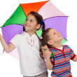 little children with umbrella, checking for rain — Stock Photo