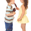 Two little children with ice cream — Stock Photo