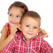 Two funny smiling little children — Stock Photo