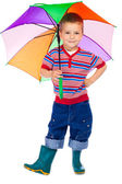 Smiling little boy with umbrella — Stock Photo