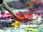 Pincel y pintura — Stock Photo