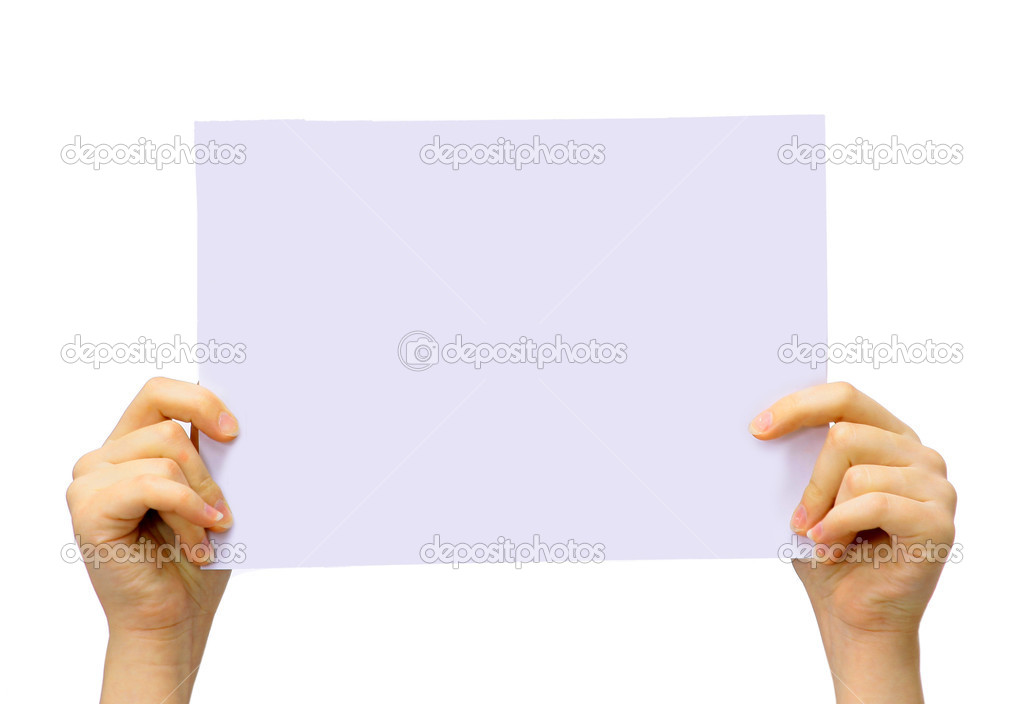 Two hands are holding up a white piece of paper on an isolated background.  — Stock Photo #5646928