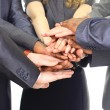 Image of business partners hands on top of each other symbolizing companion — Stock Photo #5987442
