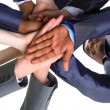 Stock Photo: Image of business partners hands on top of each other symbolizing companion