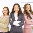 Portrait of a stylish young businesswoman with her successful business team — Stock Photo