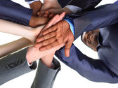 Image of business partners hands on top of each other symbolizing companion — Stock Photo