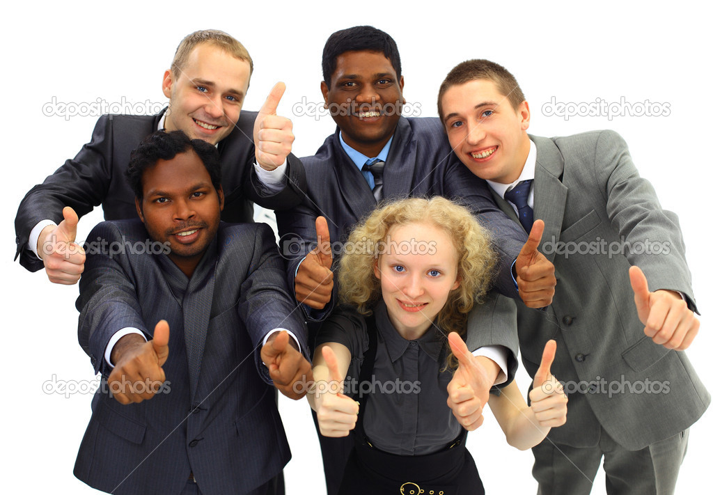 Top view of business with their hands together — Stock Photo #6726754