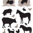 Royalty-Free Stock Vector Image: 12 silhouettes of animals