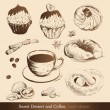 Sweet Dessert and Coffee - Stock Vector