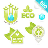 Set eco and bio icons — Stock Vector