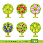 Six fruit trees — Stock Vector
