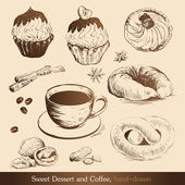 Sweet Dessert and Coffee — Stock Vector