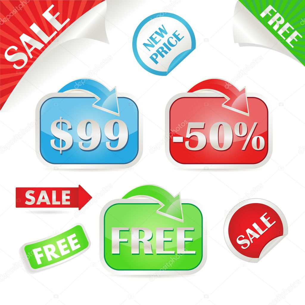 Set of sale and promo stickers. Vector illustration   Stock Vector #5863722