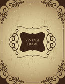 Vintage frame on grunge backgound. — Stock Vector