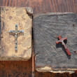 Two old books with crucifixions — Stock Photo