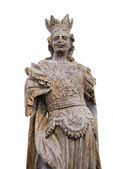 Vintage religious thematic sculpture with crown — Stock Photo