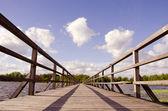 Wooden bridge construction — Stock Photo