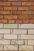 Red and white bricks wall background — Stock Photo
