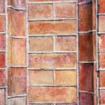 Red bricks wall background — Stock Photo