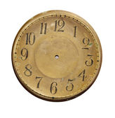 Isolated vintage brass clock-face — Stock fotografie