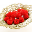 Raspberry in the vintage vase — Stock Photo
