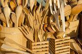 手工木制餐具 — 图库照片