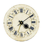 Isolated on white and grunge vintage clock-face — Stock Photo