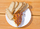 Ecological bred and cheese slice — Stock Photo