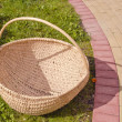 Big basket on the grass - Stock Photo