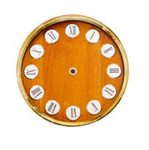 Isolated on white wooden vintage clock-face — Stock Photo