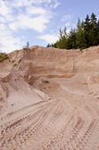 Industrial gravel quarry in the forest — Stock Photo