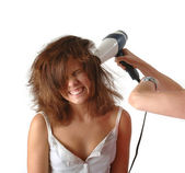 Woman hair drier frizzy hair — Stock Photo