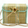 A Square Child Bag Made of Straw — Foto Stock