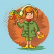 Cute little girl with a bouquet of autumn leaves on a bright background — Stock Vector