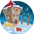 Winter cute little houses, illustration. — Stock Vector #5822634