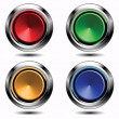 Stock Vector: Set of colored buttons with chrome stroke