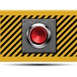 Stock Vector: Launch button on armored steel