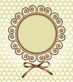 Round frame with a bow — Stock Vector