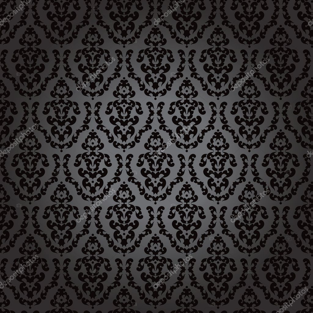 Seamless wallpaper baroque black  — Stock Vector #6316322