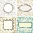 Set of vintage frames for seamless background - Stok Vektör