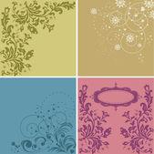 花セット手描きの花カード — ストックベクタ