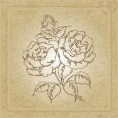 Oldtimer rahmen mit rose — Stockvektor